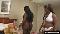Stunning big black ladies suck a white cock