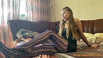Amy In Her New Tights Feeling Sexual and Talking About Pantyhose