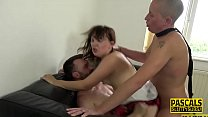 Milf submissive in threesome gets dped