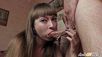 Hot Brunette Deepthroat Big Dick Lover and Cum in Mouth Closeup