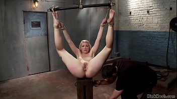 Bound blonde takes bbc up her ass