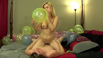 Fucking While Blowing Up Balloons and Cum on Tits