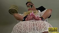 Bound and gagged submissive blonde banged