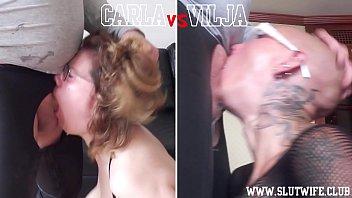 Head to Head Competition: Carla vs Vilja in Sloppy Throat Fucking (Girl vs Girl)