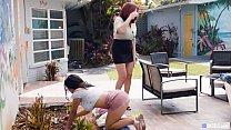 Hot Neighbor MILF Having Lesbian Sex With Teen Gardener Girl - Gabriela Lopez, Andi James