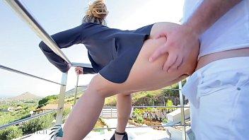 stranger fucks business woman on balcony, business bitch