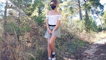 teen outdoors teasing fingering naked cums. masturbation