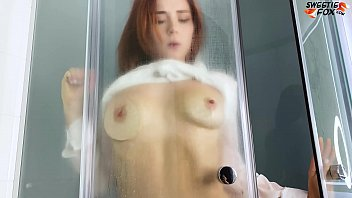 Redhead Passionate Play Pussy Sex Toy in the Shower - Homemade