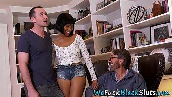 Dped ebony babe gets big tits spermed