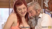 DADDY4K. Redhead loves the way BF and his old dad worship her cunny