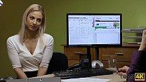 LOAN4K. Sext blonde paga sus deudas usando su perfecto cuerpo adolescente