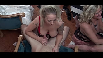 Blonde amateur MILFS blowing and fucking jizz loaded cocks