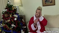 Chubby Granny's Christmas Wish Comes True! A Big Cock!