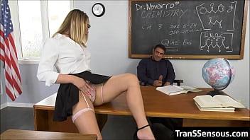 LGBT friendly teacher bangs shemale student