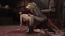 Redhead lesbian caned and fucked