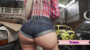 Big ass booty tgirl doggystyled by mechanic