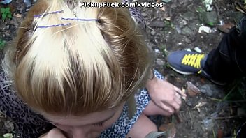 young blonde sucks a huge dick on the street!