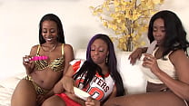 Three ebony sluts have fun with each other while there men where out