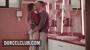 French hot brunette Clea Gaultier seduces the bartender in the bathroom