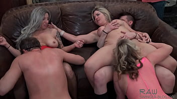 Horny housewives having an orgy with cock sucking and pussy licking