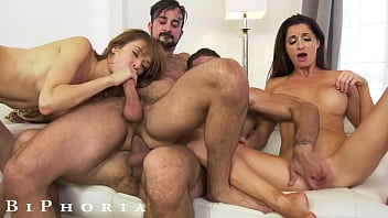 BiPhoria - 2 Bisexual Couples Have Wild Foursome 12 min