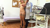 Spycam recording of naked young MILF on her gyno exam