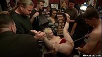 Bound blonde anal fucked in public