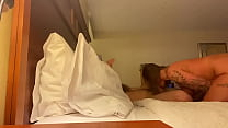 Deep throat my big cock in a hotel room