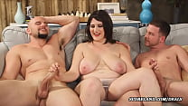the wife with big natural tits makes a threesome