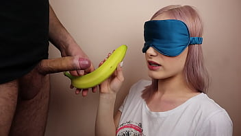 Petite step sister got blindfolded in fruits game