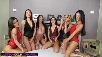 Big boobs latina trannies gangbang fucking a good looking guy