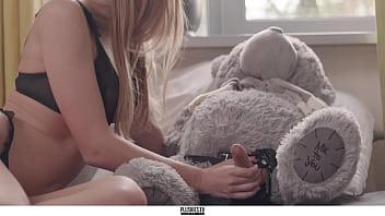 Aislin girl first teddy bear sex with strapon dildo