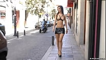 Bare boobs slave banged in public