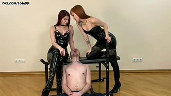 Double Spitting Humiliatrix With Two Latex Goddesses and Smoking Fetish (Preview)