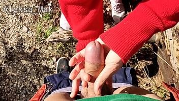 WOW ! Petite Schoolgirl Walk in the Woods Ends with Friend Cumshot