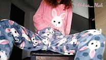 Schoolgirl In Pajamas Plays With Black Vibrator