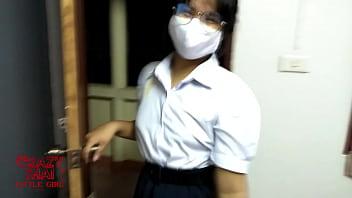 Asian teen sex with his girlfriend wear thai student uniform
