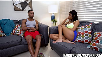 Horny black stepsister masturbates while stepbro watches behind the door - ebony porn