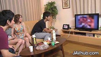 JAVHUB Japanese bombshell has her hairy pussy stuffed 12 min
