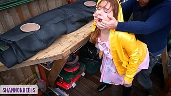 'Please don't tell my Parents' - Squirting Slut Gets Caught in Shed and Ass Fucked - Shannon Heels 15 min