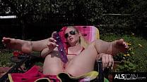 Tall Blonde  Strips Fishnet Bikini to Make Herself Cum with Big Toy