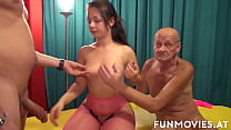 European beauty Sissiemaus gets fucked by two old dudes 12 min