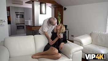 VIP4K. After drinking tea chick and her old husband make love on sofa