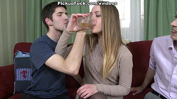 Dissolute girl banging with two guys and licking cum from her face