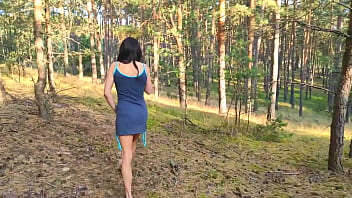 Nude VictoriaKai - Beautyful skinny brunette women, solo outdoors in the woods, fucking with a dildo