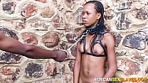Sexy ebony babe chained and leashed in public