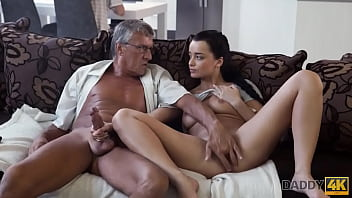 DADDY4K. Old guy still in great shape to fuck sons girlfriend on sofa