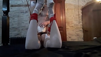 Laura on Heels amateur 2021 tied on white lingerie and high heels, vibed and throated