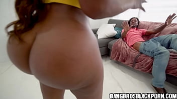 Black milf catches her man jerking off watching porn and wants payback - ebony porn
