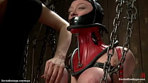 Strapped huge boobs slave fucked